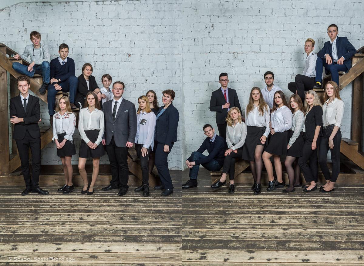 разворот выпускной фотокниги 11 класс групповая фотография учеников